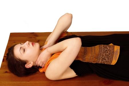 Reiki energy self-healing at neck position photo