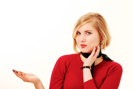 Smart businesswoman gesturing to copy space Stock Photo - 9246616