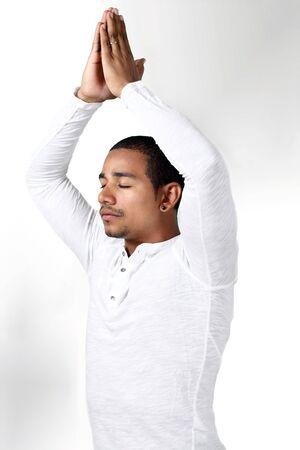 namaste: Spiritual yoga by ethnic male
