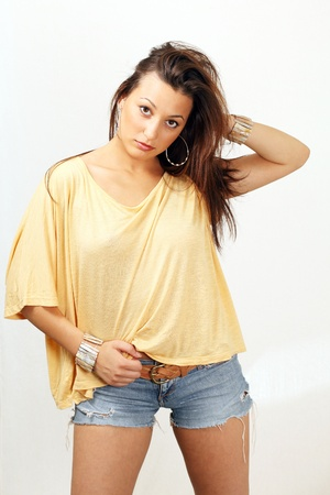 denim shorts: Young woman in casual summer clothes