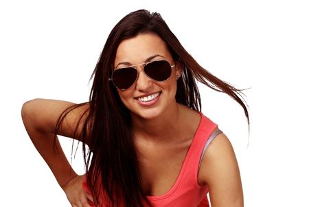 Cute smiling girl with sunglasses Stock Photo - 9646100