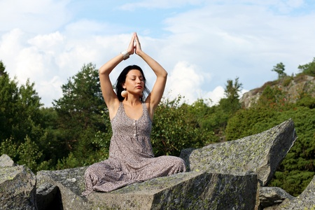 Yoga in the mountains photo