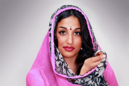 Indian female in sari or chunni a face portrait photo