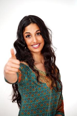 indianin: Happy girl kciuki do góry Zdjęcie Seryjne
