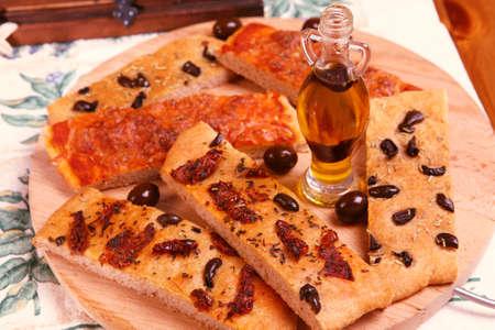 Tasty focaccia breads on italian board Stock Photo - 10599866