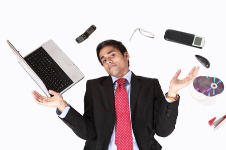 mechanical mouse: Office guy surrounded by technology tools