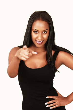 cleavage: Pointing girl Stock Photo