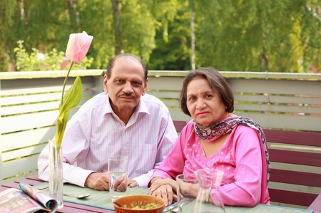 indian couple: Couple retired lifestyle enjoy fresh air and balcony meal