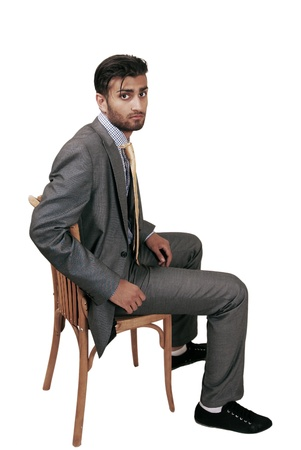Anxious man waiting for job interview photo