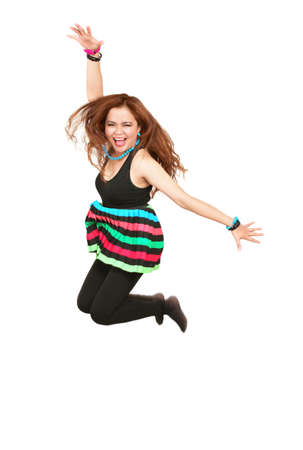 Happy excited girl jumping Stock Photo - 10910562