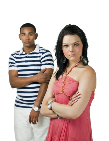 interracial relationships: Unhappy couple with focus on woman Stock Photo