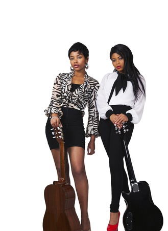 Two young women with guitars photo