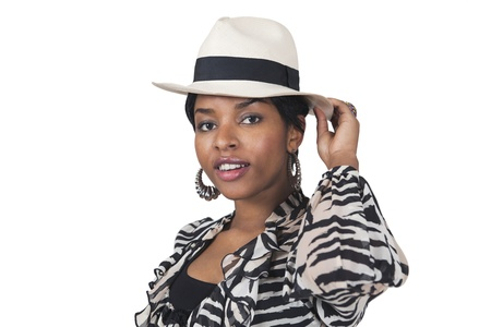 Stylish young woman in hat photo