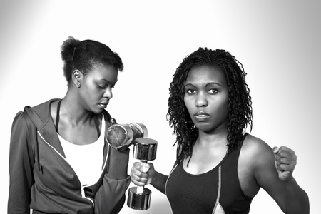 Tough gym women, monochrome image photo
