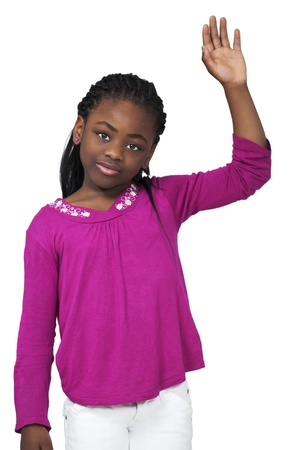 sincere girl: Sweet little african girl waving hand
