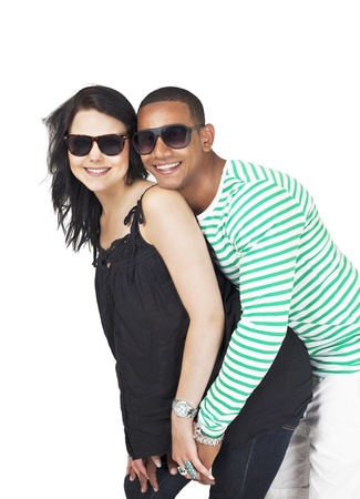 Flirting couple in summer holiday portrait photo