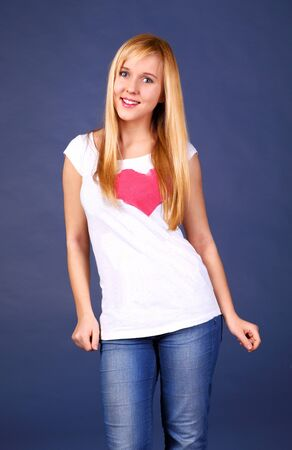 clothes interesting: Cute cheerful teenage girl in cool casuals