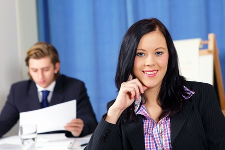Pretty office girl smiling Stock Photo - 12082780