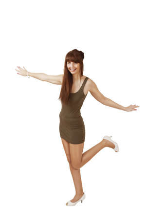 Woman happy skip with arms outstretched photo