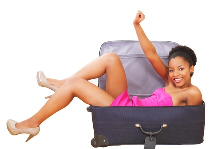 amused: Happy girl in suitcase, going on a trip
