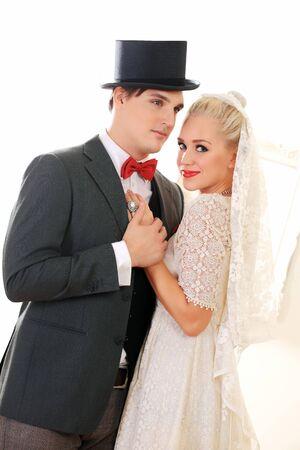 Beautiful wedding couple slow dancing photo