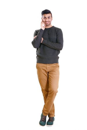 Full length portrait of happy man listening politely