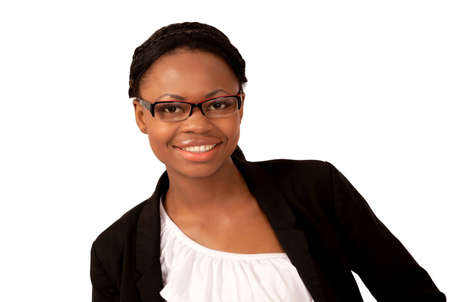 Smiling black woman in business jacket Stock Photo - 12622207