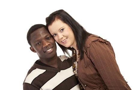 mixed race couple: Feliz pareja de raza mixta amor y la amistad Foto de archivo