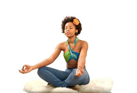 Yoga exercise fresh beautiful ethnic woman Stock Photo - 12622245
