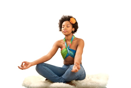 kundalini: Yoga exercise fresh beautiful ethnic woman Stock Photo