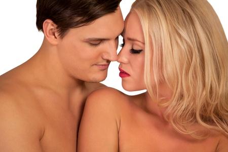 man and woman sex: Красивая молодая пара хотела поцеловать Фото со стока