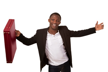 Delighted african man with briefcase photo