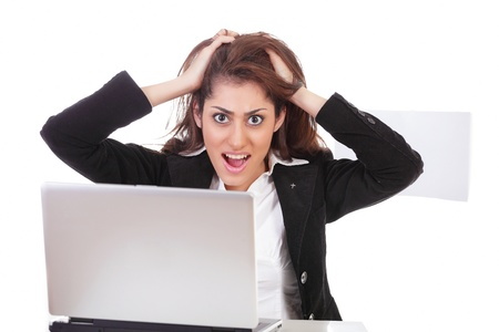 Frustrated yelling office girl tearing hair Stock Photo - 12622471