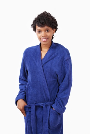 Sleepy female in blue towel robe Stock Photo - 12622527
