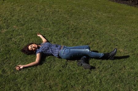 casualty: Female dead body lying in a park