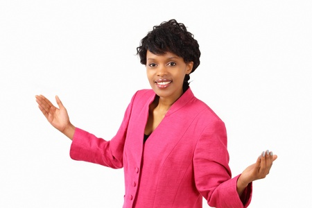 Smiling businesswoman gesture- what do you expect? photo