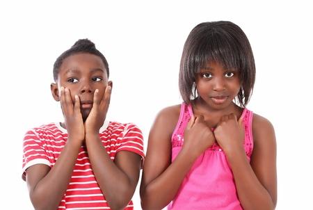 garcon africain: Enfants inquiets avec une expression malheureuse