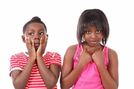 Worried kids with unhappy expression photo
