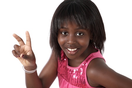 african culture: Cute girl friendly gesture or peace sign