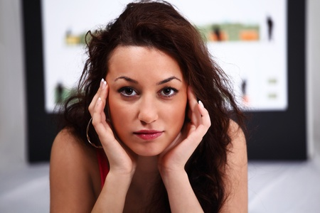 cope: Workplace stress with young woman trying to cope Stock Photo