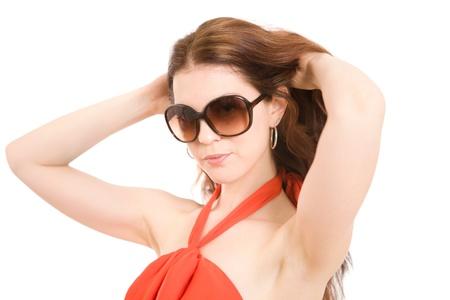 Beautiful summer fashion girl posing in sunglasses Stock Photo - 13447187