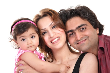 Family joy  happy smiling couple holding baby photo