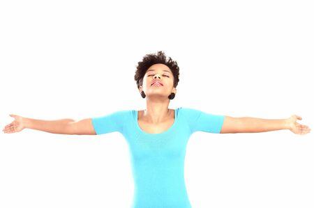 supplication: Prayer or supplication woman eyes closed head raised