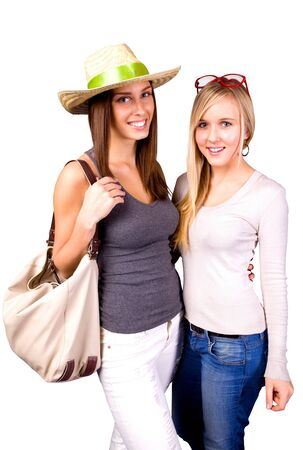 Two happy young women on summer holiday trip Stock Photo - 13496784