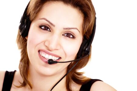 Happy receptionist with headset a face closeup Stock Photo - 13496787