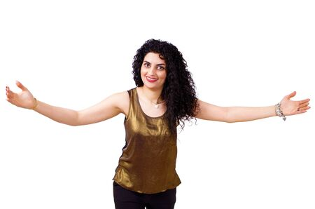 courteous: Smiling woman making welcome gesture with hands
