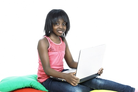 Computer generation child, cute girl with laptop photo