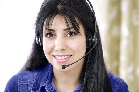 People at work telephone operator with headset photo
