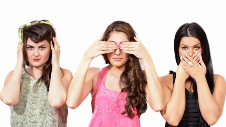 See no evil, hear no evil, speak no evil - three wise girls photo