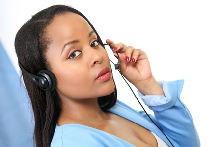 Pretty receptionist with headset Stock Photo - 14162242